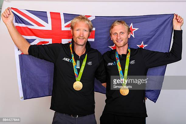 Eric Murray and Hamish Bond pose for a portrait with their Olympic Rowing Gold Medals during the New Zealand Olympic Games athlete home coming at The...