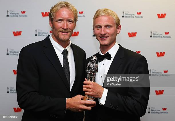 Eric Murray and Hamish Bond pose with the Halberg Award for Team of the Year during the 2013 Halberg Awards at Vector Arena on February 14 2013 in...