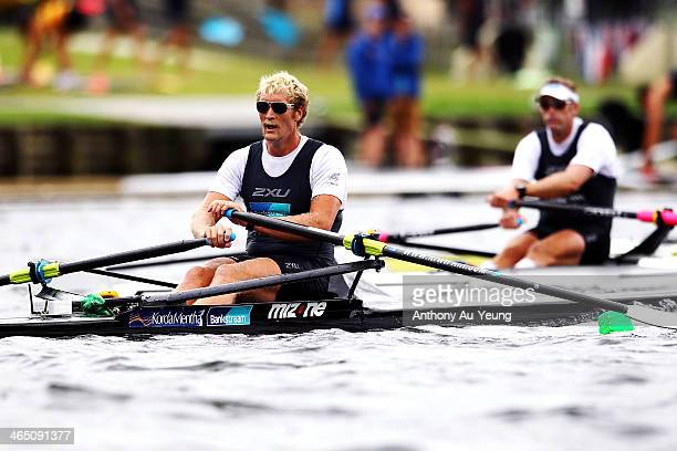 Eric Murray and Mahe Drysdale compete during the Mens premier single sculls final at Lake Karapiro on January 26 2014 in Cambridge New Zealand