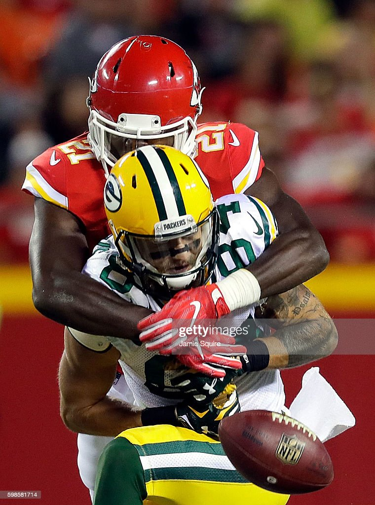 Eric Murray #21 of the Kansas City Chiefs breaks up a pass intended for Jared Abbrederis #84 of the Green Bay Packers during the preseason game at Arrowhead Stadium on September 1, 2016 in Kansas City, Missouri.