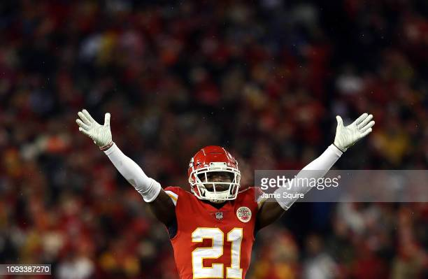 Eric Murray of the Kansas City Chiefs celebrates after making a play during the AFC Divisional round playoff game against the Indianapolis Colts at...