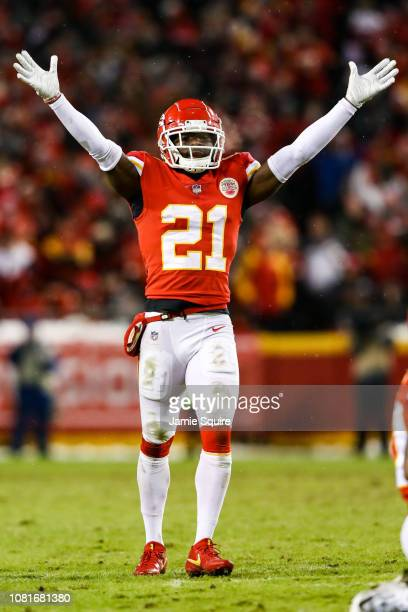 Eric Murray of the Kansas City Chiefs holds his hands in the air after a defensive play against the Indianapolis Colts during the fourth quarter of...