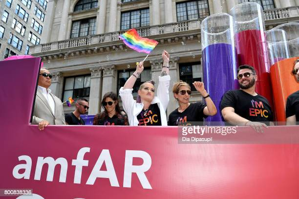 Eric Muscatell AnnMari Shannahan Kelly Osbourne and Aileen Getty ride the amfAR #BeEpicEndAIDS float during the 2017 New York City Pride March on...