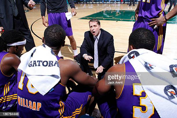 Eric Musselman head coach of the Los Angeles Defenders directs his team during a timeout against the Maine Red Claws during the 2012 NBA DLeague...