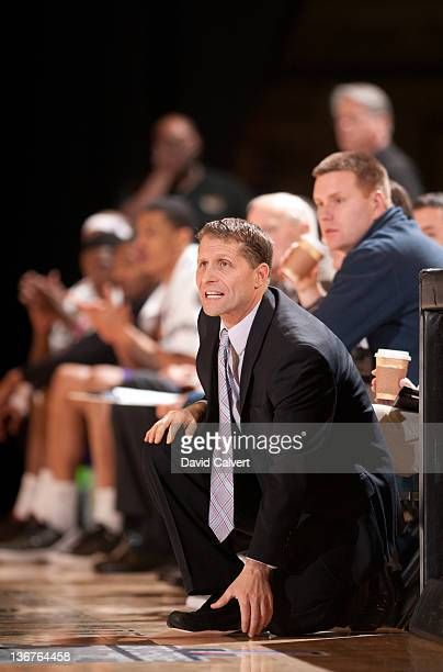 Eric Musselman head coach of the Los Angeles Defenders on the sidelines against the Maine Red Claws during the 2012 NBA DLeague Showcase on January...