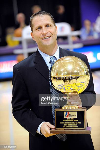 Eric Musselman head coach of the Los Angeles DFenders is presented with the Developmental League Coach of the Year Award before playing the Austin...