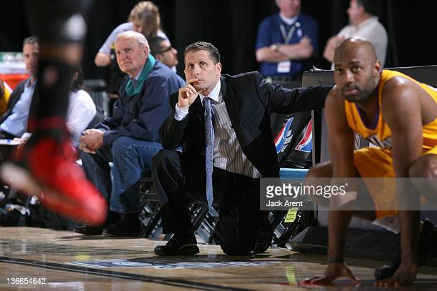 Eric Musselman head coach of the Los Angeles DFenders watches his team defend a jump shot against the Springfield Armor during the 2012 NBA DLeague...