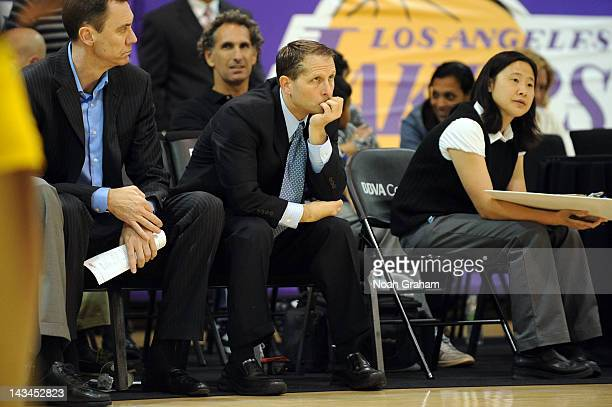Eric Musselman head coach of the Los Angeles DFenders watches his team play against the Austin Toros at Toyota Sports Center during game two of the...