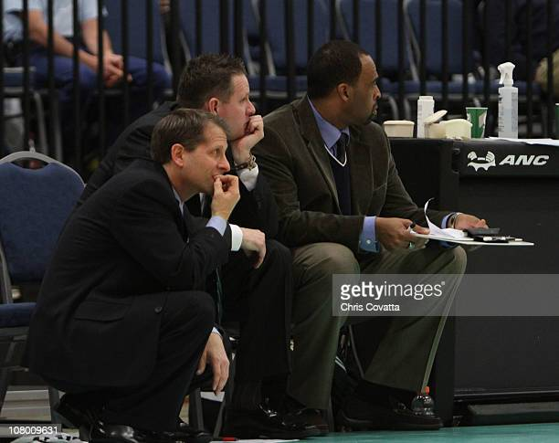 Eric Musselman Head Coach of the Reno Big Horns reacts to a play against the Maine Red Claws during the 2011 NBA DLeague Showcase on January 12 2011...