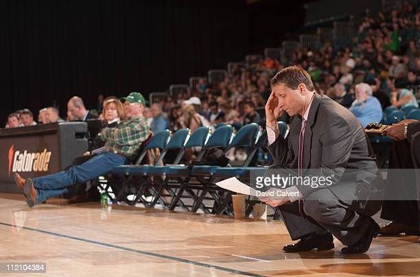 Eric Musselman head coach of the Reno Bighorns on the sidelines during a firstround NBA DLeague playoff game against the Erie BayHawks April 12 2011...