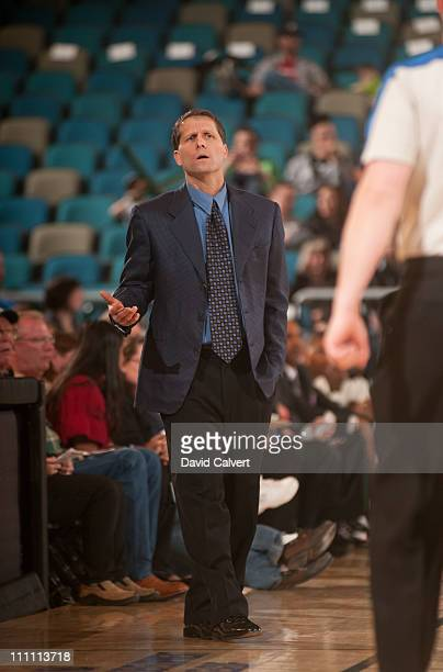 Eric Musselman head coach of the Reno Bighorns on the sidelines against the Austin Toros during the game on March 29 2011 at the Reno Events Center...