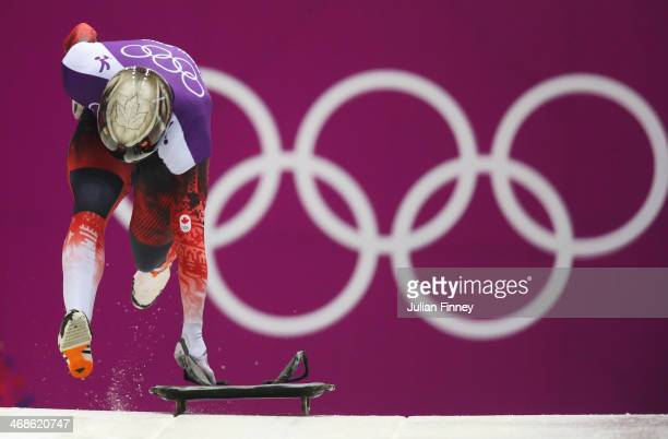 Eric Neilson of Canada makes a run during a Men's Skeleton training session on Day 4 of the Sochi 2014 Winter Olympics at the Sanki Sliding Center on...