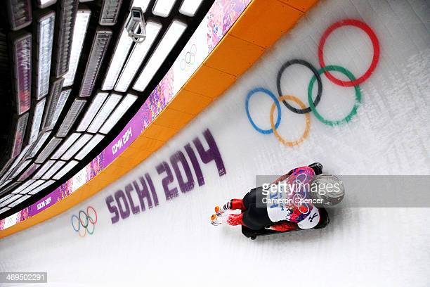 Eric Neilson of Canada makes a run during the Men's Skeleton on Day 8 of the Sochi 2014 Winter Olympics at Sliding Center Sanki on February 15 2014...