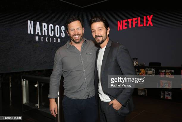 Eric Newman and Diego Luna attend the Narcos Mexico ATAS Screening and Reception at Netflix Home Theater on March 30 2019 in Los Angeles California