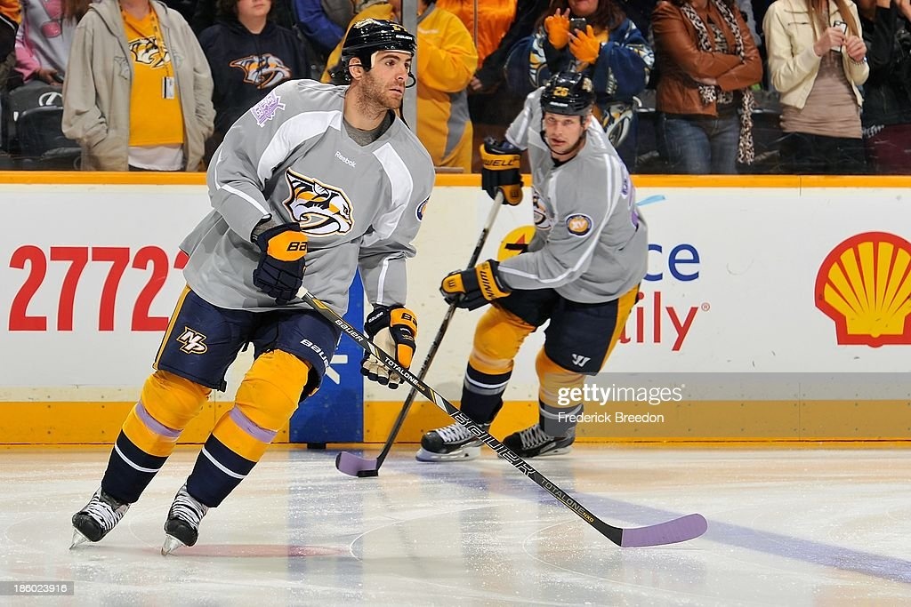 reputable site cfb54 25fe1 Eric Nystrom of the Nashville Predators wears a Hockey ...