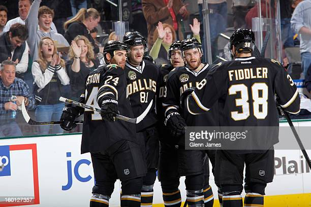 Eric Nystrom Tomas Vincour Stephane Robidas Alex Goligoski and Vernon Fiddler of the Dallas Stars celebrate a goal against the St Louis Blues at the...