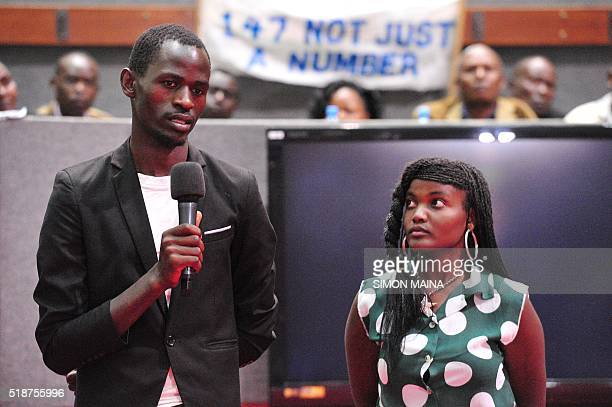 Eric Okuom and Winnie Omayi survivors of the Garissa University College massacre give testimonies as they attend a tribute to the victims of last...