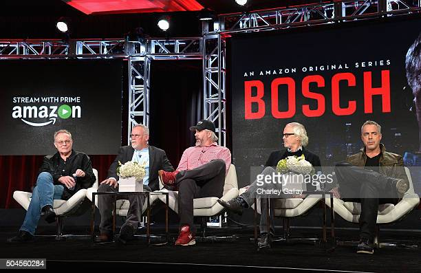 Eric Overmyer, Michael Connelly, Henrik Bastin, Pieter Jan Brugge and Titus Welliver speak on the panel for Bosch during the Amazon Winter 2016...