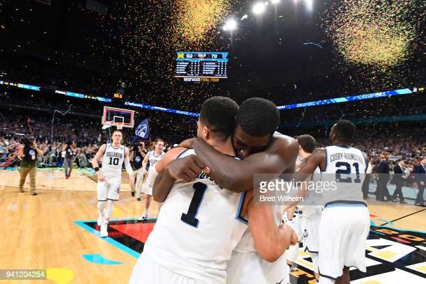 Eric Paschall and Jalen Brunson of the Villanova Wildcats celebrate after the 2018 NCAA Photos via Getty Images Men's Final Four National...