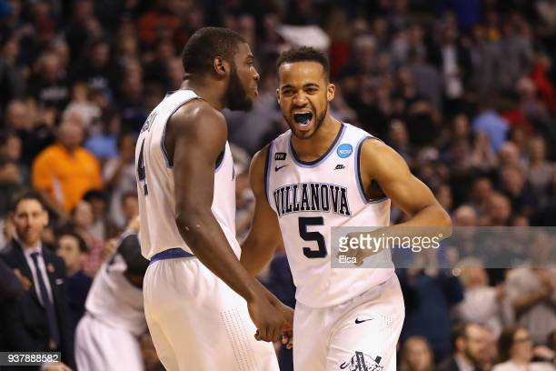 Eric Paschall and Phil Booth of the Villanova Wildcats celebrate during the second half against the Texas Tech Red Raiders in the 2018 NCAA Men's...