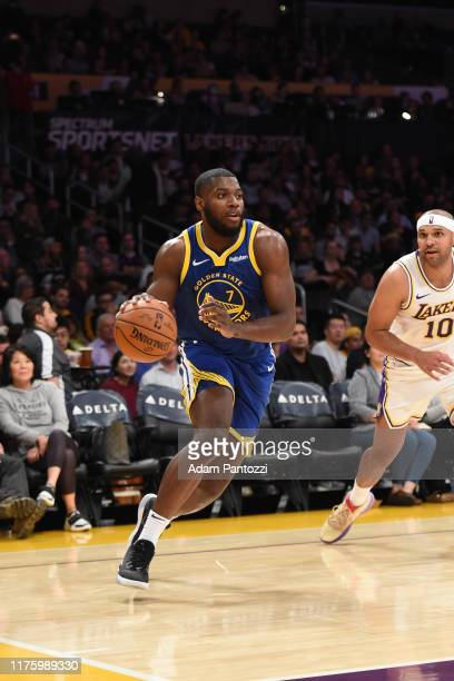 Eric Paschall of the Golden State Warriors handles the ball against the Los Angeles Lakers during a preseason game on October 14 2019 at STAPLES...