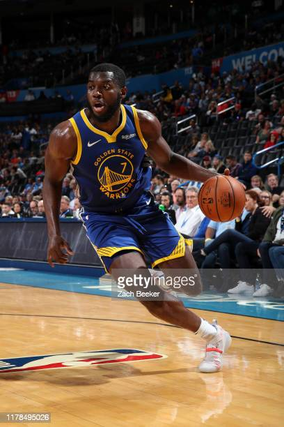 Eric Paschall of the Golden State Warriors handles the ball against the Oklahoma City Thunder on October 27 2019 at Chesapeake Energy Arena in...