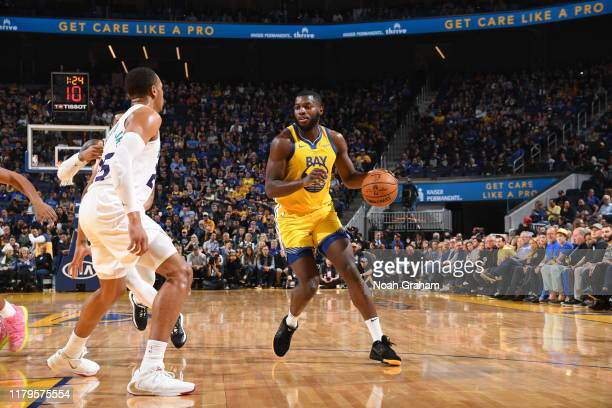 Eric Paschall of the Golden State Warriors handles the ball against the Charlotte Hornets on November 2 2019 at ORACLE Arena in Oakland California...