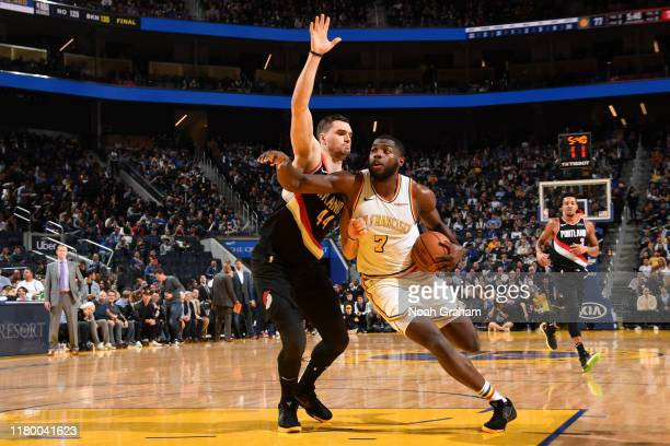 Eric Paschall of the Golden State Warriors handles the ball against the Portland Trail Blazers on November 4 2019 at Chase Center in San Francisco...