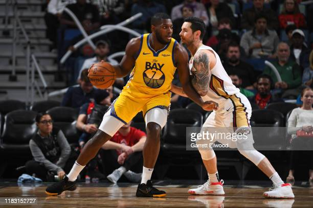 Eric Paschall of the Golden State Warriors handles the ball against the New Orleans Pelicans on November 17 2019 at the Smoothie King Center in New...