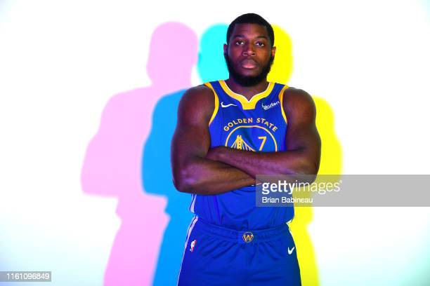 Eric Paschall of the Golden State Warriors poses for a portrait during the 2019 NBA Rookie Photo Shoot on August 11, 2019 at the Fairleigh Dickinson...