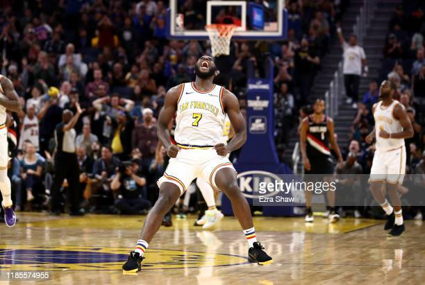 Eric Paschall of the Golden State Warriors reacts during their game against the Portland Trail Blazers at Chase Center on November 04 2019 in San...