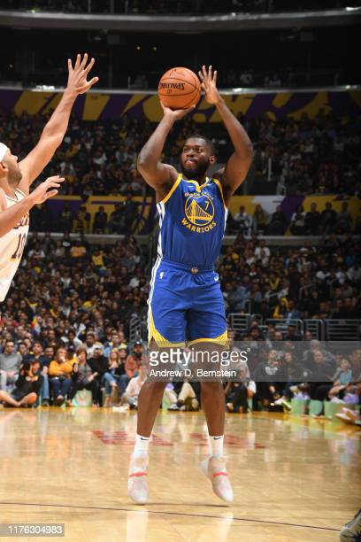 Eric Paschall of the Golden State Warriors shoots the ball against the Los Angeles Lakers during a preseason game on October 16 2019 at STAPLES...