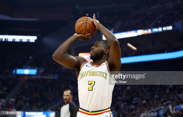 Eric Paschall of the Golden State Warriors shoots the ball against the San Antonio Spurs at Chase Center on November 01 2019 in San Francisco...