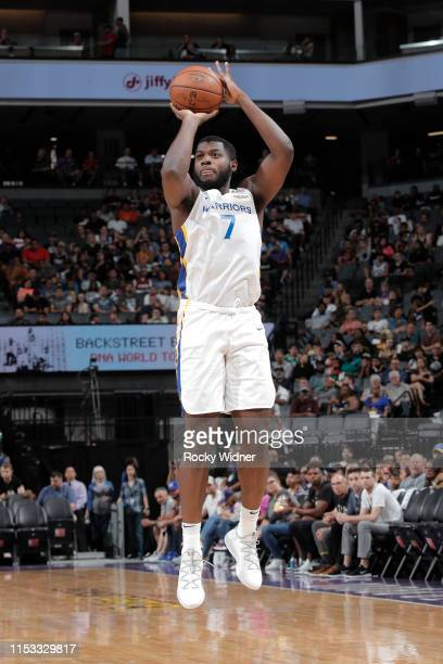 Eric Paschall of the Golden State Warriors shoots three point basket against the Los Angeles Lakers on July 2 2019 at Golden 1 Center in Sacramento...