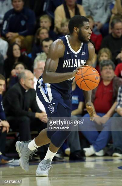 Eric Paschall of the Villanova Wildcats during a game against the Penn Quakers at The Palestra on the campus of the University of Pennsylvania on...