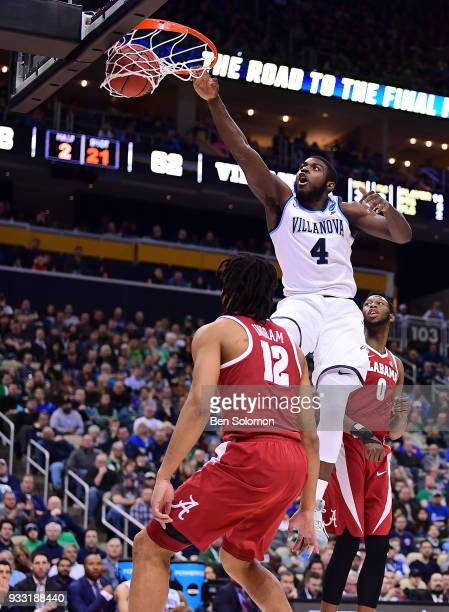 Eric Paschall of the Villanova Wildcats goes to the basket for a slam dunk in the second half during the game against the Alabama Crimson Tide in the...