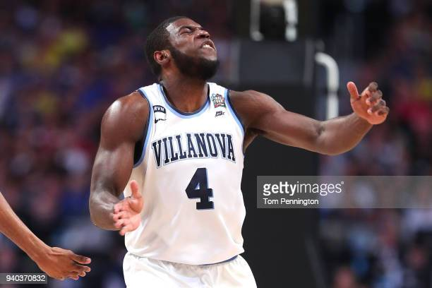 Eric Paschall of the Villanova Wildcats reacts after a play in the first half against the Kansas Jayhawks during the 2018 NCAA Men's Final Four...