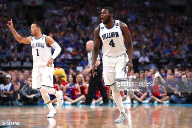 Eric Paschall of the Villanova Wildcats reacts in the first half against the Kansas Jayhawks during the 2018 NCAA Men's Final Four Semifinal at the...