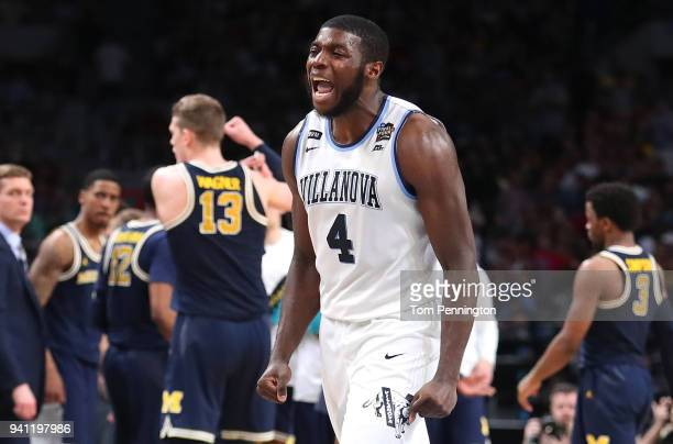 Eric Paschall of the Villanova Wildcats reacts in the second half against the Michigan Wolverines during the 2018 NCAA Men's Final Four National...