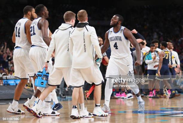 Eric Paschall of the Villanova Wildcats reacts with teammates in the second half against the Michigan Wolverines during the 2018 NCAA Men's Final...