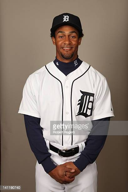 Eric Patterson of the Detroit Tigers poses during Photo Day on Tuesday February 28 2012 at Joker Marchant Stadium in Lakeland Florida