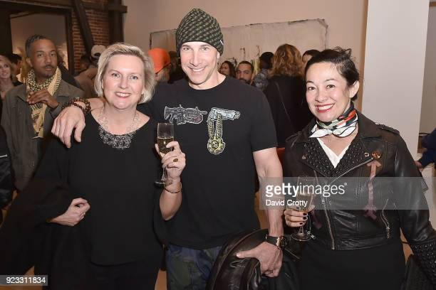 Eric Perlnam Jo Brooks and Amanda Fairey attend the Vhils 'Annihilation' Opening Reception on February 22 2018 in Los Angeles California