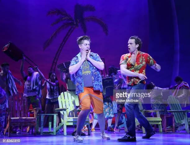 Eric Peterson and Paul Alexander Nolan perform at the Press Sneak Peak for the Jimmy Buffett Broadway Musical 'Escape to Margaritaville' on February...