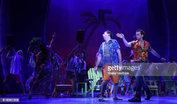 Eric Peterson and Paul Alexander Nolan with cast perform at the Press Sneak Peak for the Jimmy Buffett Broadway Musical 'Escape to Margaritaville' on...