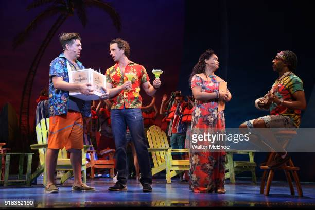 Eric Peterson Paul Alexander Nolan Rema Webb and Andre Ward with cast perform at the Press Sneak Peak for the Jimmy Buffett Broadway Musical 'Escape...