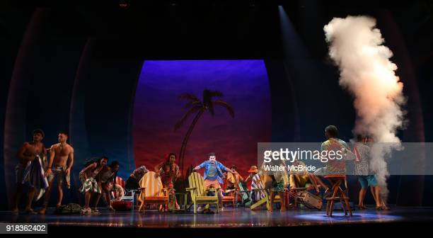Eric Peterson with ensemble cast perform at the Press Sneak Peak for the Jimmy Buffett Broadway Musical 'Escape to Margaritaville' on February 14...