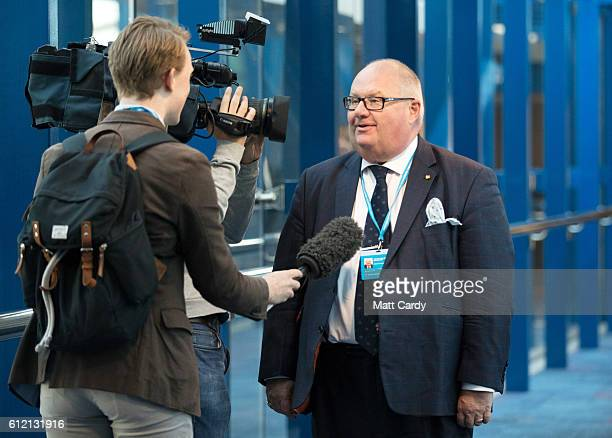Eric Pickles arrives on the second day of the Conservative Party Conference 2016 at the ICC Birmingham on October 3 2016 in Birmingham England On the...