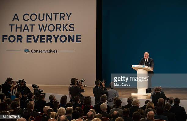 Eric Pickles MP speaks on stage on the third day of the Conservative Party Conference 2016 at the ICC Birmingham on October 4 2016 in Birmingham...