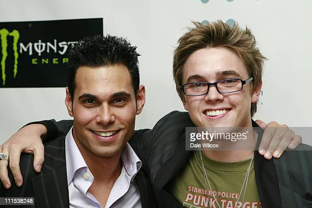 Eric Podwall and Jesse McCartney during Shane West and Eric Podwall's Birthday Party June 25 2006 at Skybar in Hollywood California United States