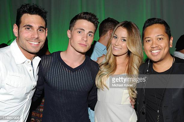 Eric Podwall Colton Haynes Lauren Conrad Rembrandt Flores attend the HTC Status Social Launch Event With Usher at Paramount Studios on July 19 2011...